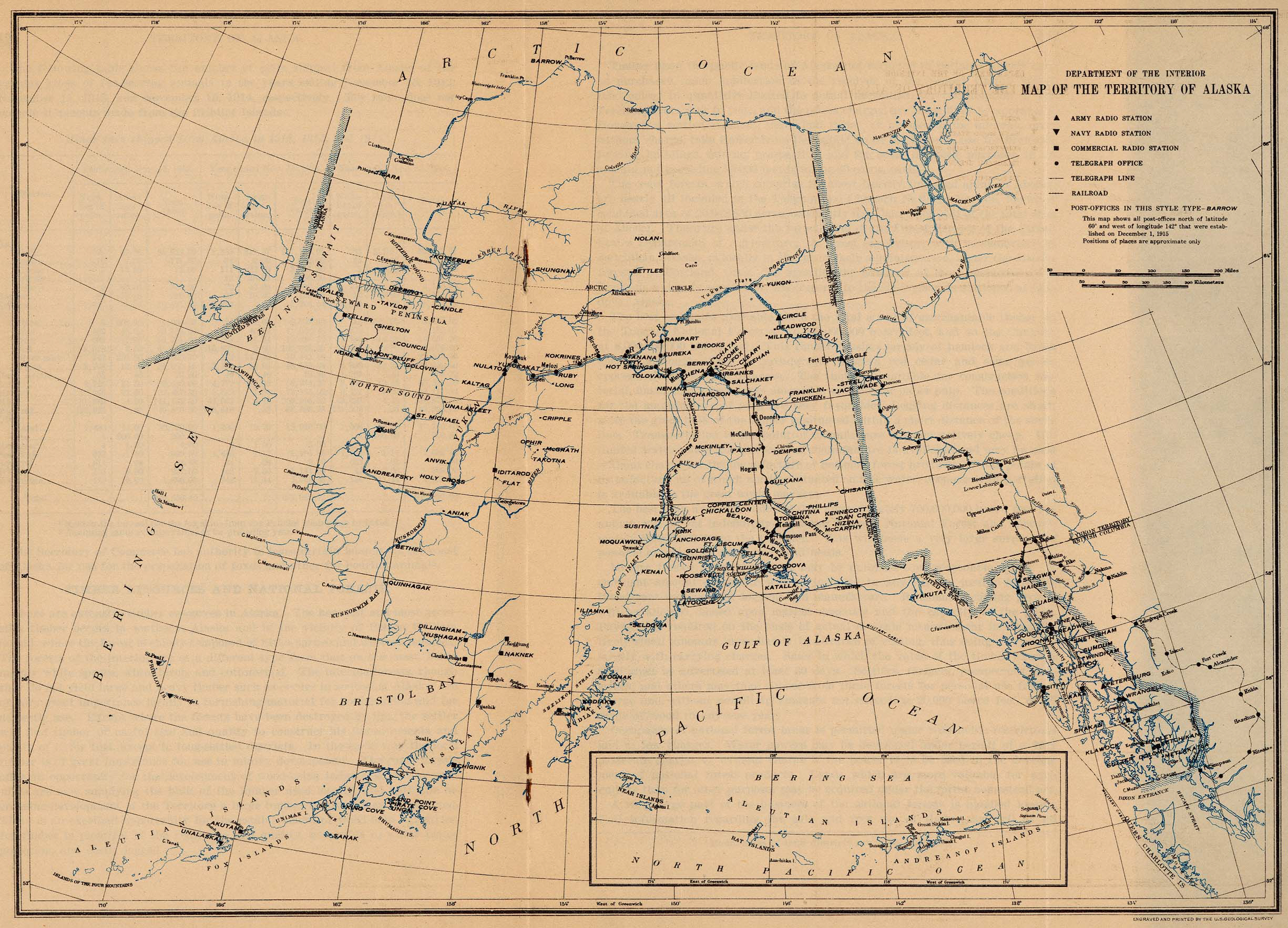 1915 us department of the interior map showing army navy radio stations telegraph offices railroads and post offices