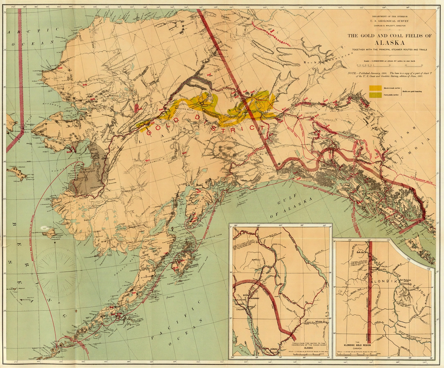 1898 Map Of The Alaska And Yukon Gold Fields In The News